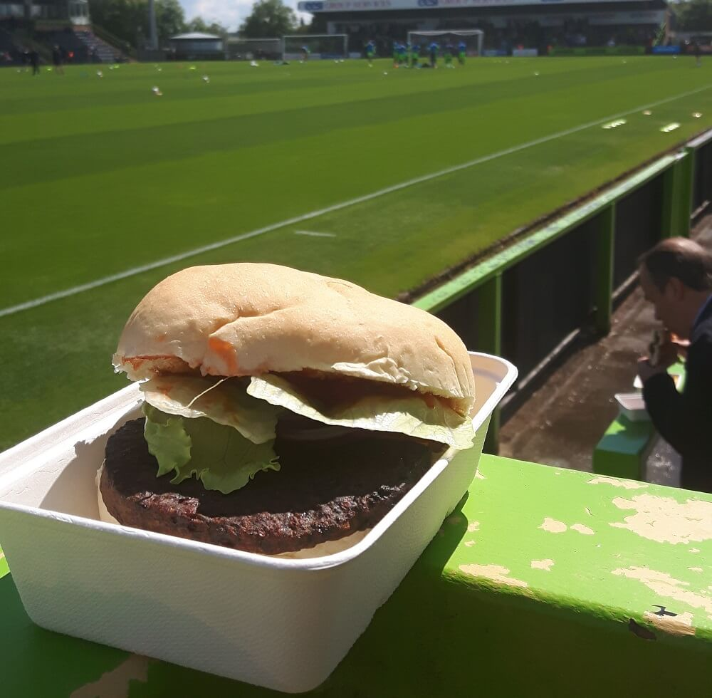 Veggie burger at vegan football club forest green's ground the new lawn