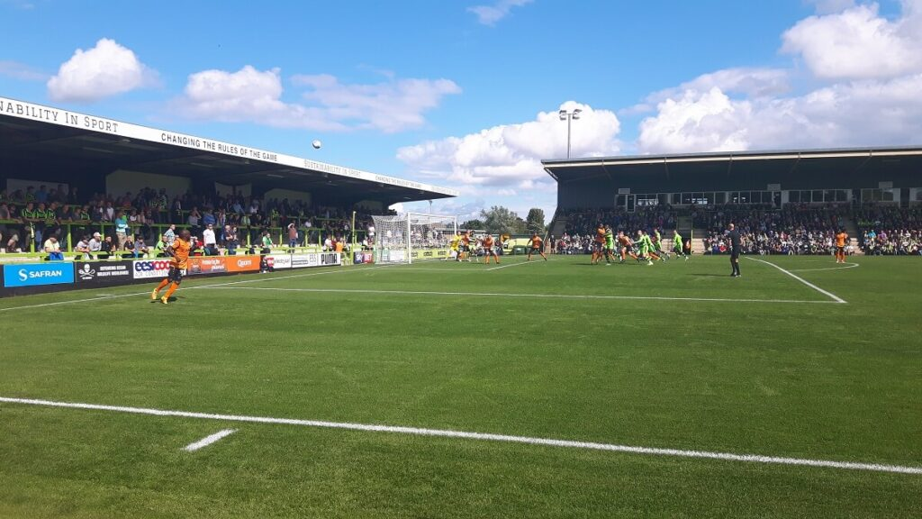 Corner from which Christian Doidge gives Forest Green the lead against Barnet