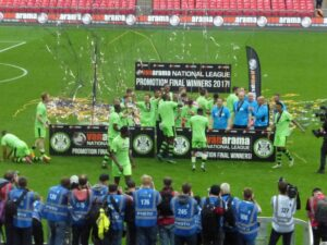 Forest Green Rovers celebrating their win to the football league at Wembley