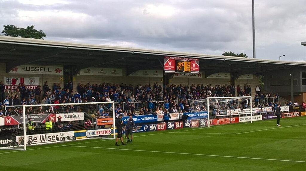 Leicester fans on the away terrace at Burton Albion's Pirelli Stadium