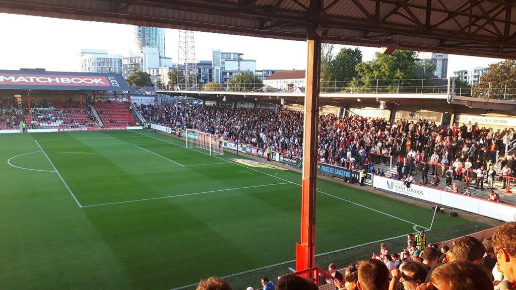 The Ealing Road Terrace at Griffin Park Brentford