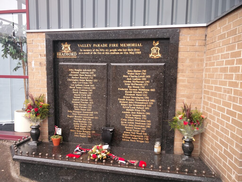 The Valley Parade Fire Memorial.