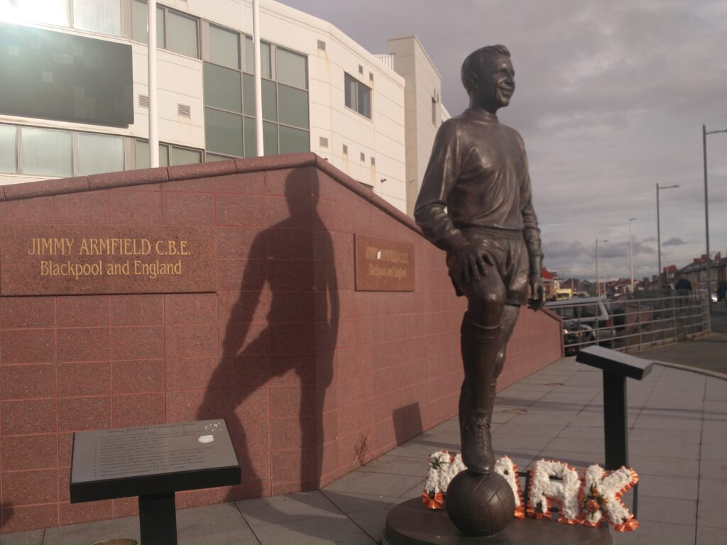 The Jimmy Armfield statue was one of many former players remembered around Bloomfield Road.