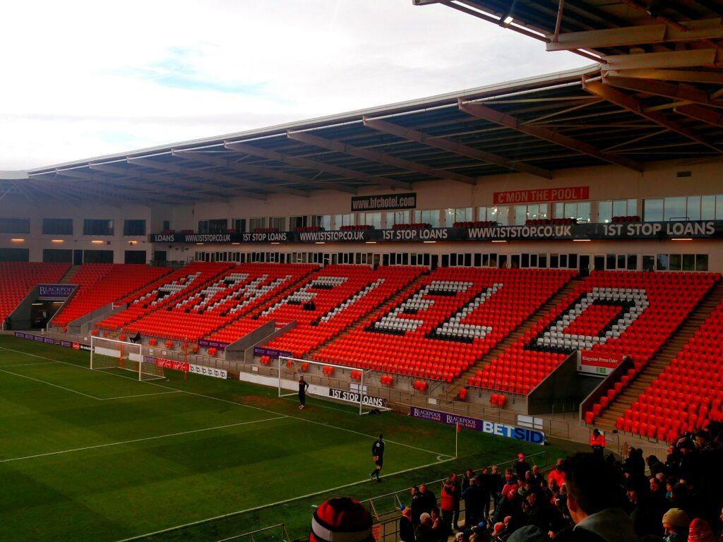 The Jimmy Armfield Stand at Bloomfield Road.