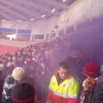 Kidderminster Harriers set several purple flares off at the start of the game.