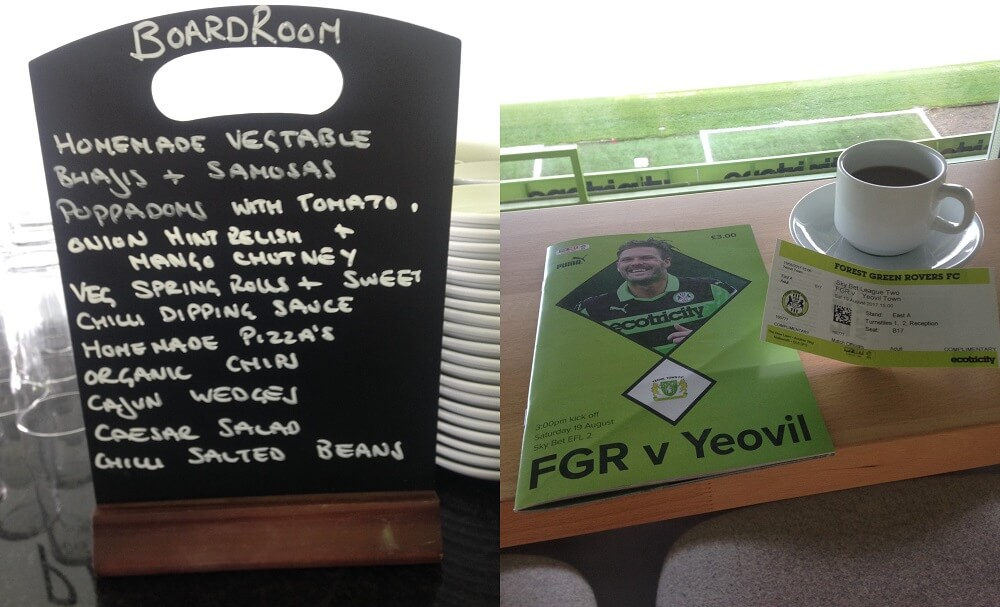 Vegan menu at Forest Green Rovers