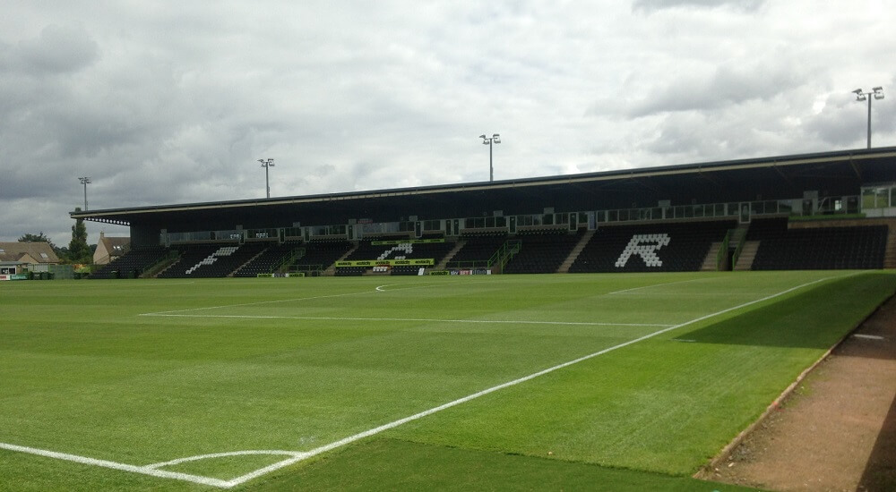 Main Stand at the New Lawn home of Vegan outfit Forest Green Rovers