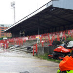The old Kop at the Racecourse Ground Wrexham