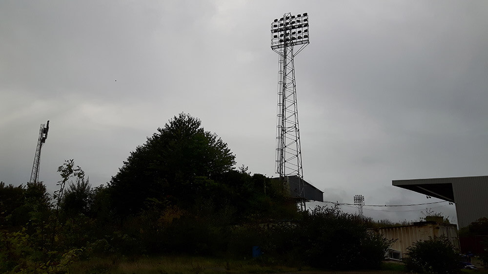 Traditional floodlight pylons at the Racecourse Ground Wrexham